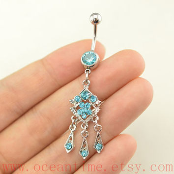 gypsy belly button rings,Bohemia belly button jewelry,light blue navel ring,piercing belly ring,friendship piercing bellyring