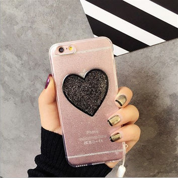 Love flash powder for iphone7 phone shell for Apple 6s transparent soft 6 / 7plus lanyard protective cover 5.5 shell -0325