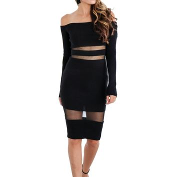 Women Fashion Cute Long Sleeve Off Shoulder Perspective Bodycon Hollow Dress
