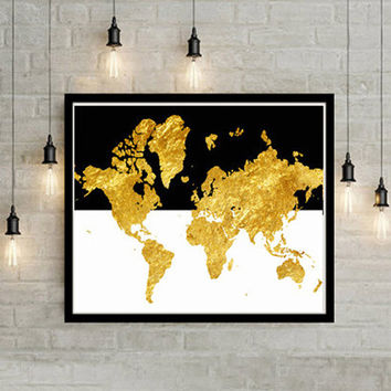 Gold World map Large Wall Art Print from LACOTEDESIGN on Etsy