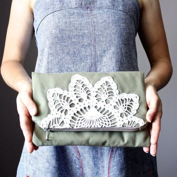 Foldover clutch bag,  cotton handbag, Army Green,  upcycled vintage crochet doily, envelope bag, zipper pouch