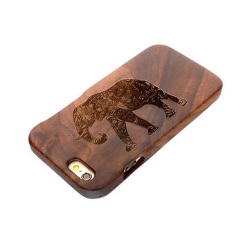 Elephant Carving Wooden Phone Case for iPhone 6 Plus or iPhone 6S Plus