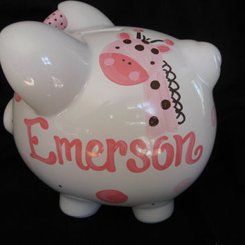 PERSONALIZED piggy bank pink and brown by andrewandelladesigns