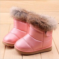 Winter Plush Baby Girls Snow Boots Warm Shoes Pu Leather Flat With Baby Toddler Shoes Outdoor Snow Boots Girls Kids Shoe