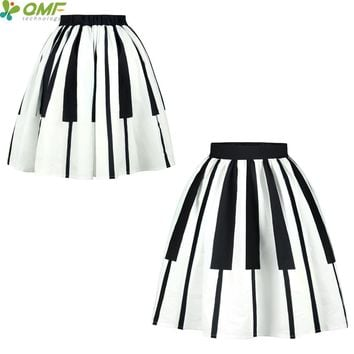 Black White Piano Keys Print Tennis Skirts Sexy Lady Vintage Faldas Skirts Saia Knee-Length Pleated Midi Party Skirt Flared