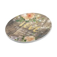 Rustic Wood Floral String Lights Wedding Shower Paper Plate