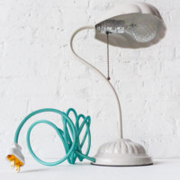 20% SALE Retro White Shell Lamp Vintage Light with Aqua Net Color Cord and Ornate Diamond Light Bulb
