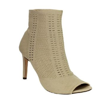 New Women Knitted Peep Toe Ankle Heels Booties