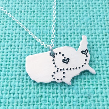 United States Long-Distance Necklace - With Dots Connecting Hearts Locations Hand Stamped by Eight9Designs Map