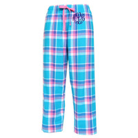 Monogrammed Flannel Pajama Pants Blue and Pink Pacific Surf Personalized Christmas Gift