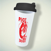 Pugs Not Drugs Red For Double Wall Plastic Mug ***