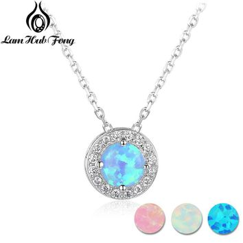 925 Sterling Silver Round Pink White Blue Opal Pendant Necklaces Cubic Zirconia Circle Necklace Birthday Gifts (Lam Hub Fong)
