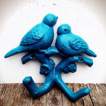 Hand Painted Love Birds Branch Wall Hook - Vintage Shabby Cottage Chic - Lagoon Teal Blue Green