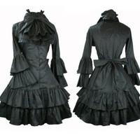 J323 ladies Victorian Lolita Gothic kimolo sleeves long black dress XS-XXL