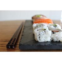 Sushi Plate & Chopstick Set - Black