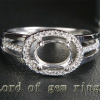 6x8mm Oval Cut Real 14K White Gold Pave Diamonds Halo Semi Mount Engagement Ring