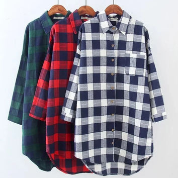 2017 Autumn Women Plaid Shirts Blouses Medium Long Casual Loose Vintage Flannel Shirt Long Sleeve Women Blouses Tops Plus Size