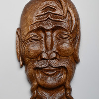 Handmade decorative wall hanging Mask carved of wood Cossack Wall art ideas Gift