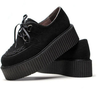 Black Women's Faux Suede Lace Up Punk High Platform Flat Creeper Shoes US5-9