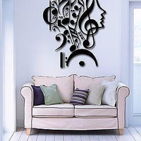Vinyl Decal Wall Stickers Notes Music Woman Teen Girl Face Decor Unique Gift (z1983)