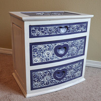Purple and White Carved Nightstand by BranchesFurniture on Etsy