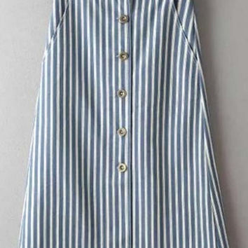 Fashion Button Down A-Line Striped Skirts