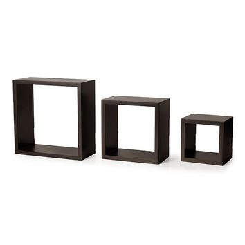 Melannco 3-piece Square Wood Wall Shelves Set (Brown)