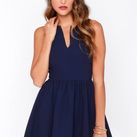 Change of Pace Sleeveless Navy Blue Dress