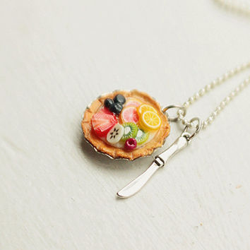 Fruit Tart Necklace Food Jewelry  Miniature by bookmarksnrings