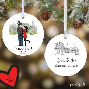 Winter Central Park Engagement Ornament