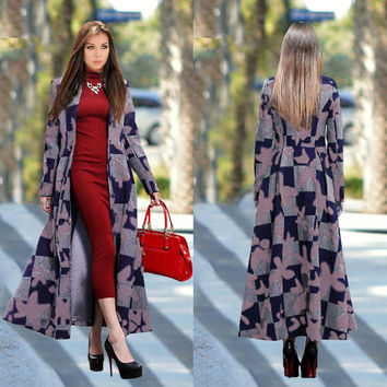 Turn-down Collar Long Sleeves Flower Print Plus Size Long Coat