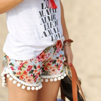 Cute colorful floral Boho pom pom Shorts comfy fabric Cute pattern festival Clothing Rayon  Summer holiday Clothing Beach Women chic white