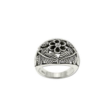 Bohemian Filigree Engraved Leaves and Flowers Sterling Silver Ring - 925 Sterling Silver Ring - Bohemian Flower Statement Ring