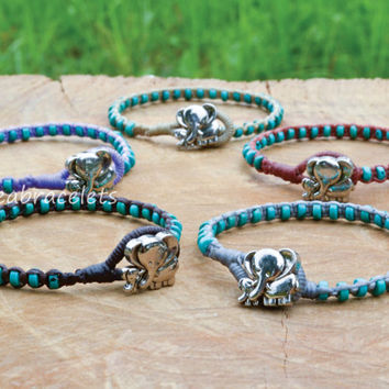 Turquoise Beaded Elephant Bracelets Handmade Gift For Her Bracelets Idea Mom Daughter Jewelry Cuff Bracelets - Gray