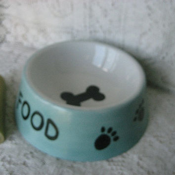 DOG Food bowl, colors tan, Aqua,Green,red Holds 2 Cups;ceramic Pottery Porcelain; Hand painted Kiln fire by B Marsh