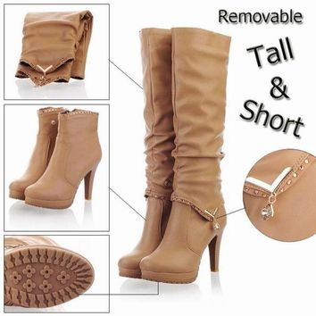 DCCKIX3 New2015 Winter Knee High Boots Women Motorcycle Boots Two Way Wear High Heels Soft Leather Shoes winter boots = 1946595652