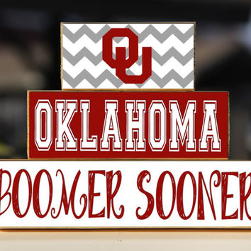 University of Oklahoma Boomer Sooner- Trio Wood Blocks Stack - Crimson/Cream  - Home Decor/Gift - Oklahoma -  - Wooden Blocks