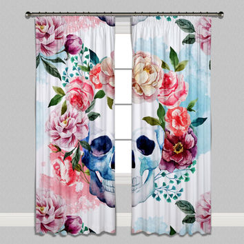 Springtime Watercolor Design Skull Curtains & Sheers - Lined Curtains, Unlined Curtains and Sheers - Sugar Skull Curtains