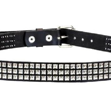 "3-Row Silver Mini Pyramid Stud Leather Belt 1"" Wide"
