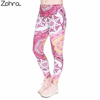Zohra Fitness Legging Mandala Mint Printing Fashion Bottoms Sexy High Waist Leggings Women Pants