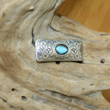 Navajo Native American Turquoise Silver Money Clip Hand Stamped