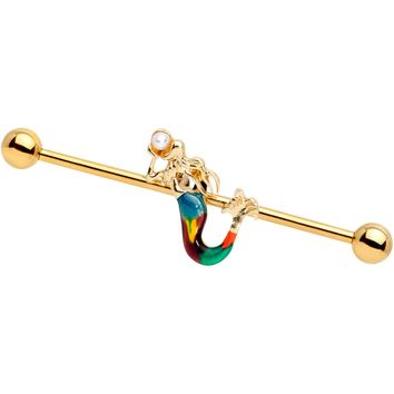 14 Gauge White Orb Gold PVD Rainbow Mermaid Industrial Barbell 38mm