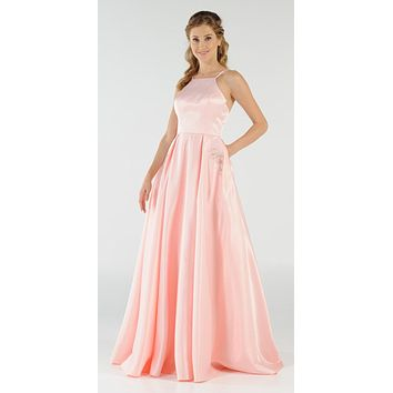 Peach Long Satin Prom Dress Halter Spaghetti Strap with Pockets