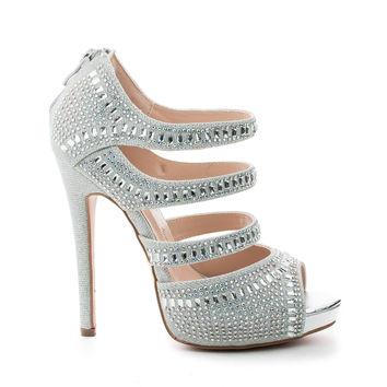 Eternity86 Silver Shimmer by Blossom, Rhinestone Studded Peep Toe Caged Stiletto Dress Heels