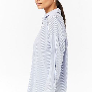 Pinstripe Curved-Hem Shirt - Women - New Arrivals - 2000272093 - Forever 21 Canada English