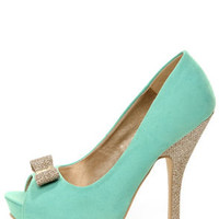 Chic 7 Light Blue and Glitter Fabric Peep Toe Platform Pumps