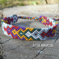 Friendship bracelet woven aztec white mustard violet grey green terracotta wristband love Boyfriend Girlfriend gift. Best friend gift.