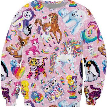 Lisa Inspired Cartoon Character Collage Sweatshirt Pullover