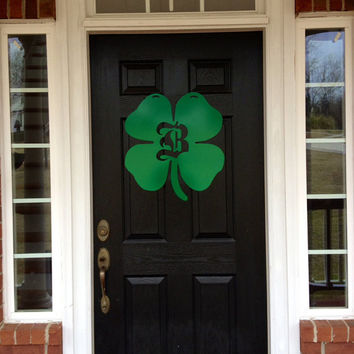 Saint Patrick's Day Metal monogram door hanger, monogrammed metal wreath, monogram door hanger, Irish shamrock, emerald green