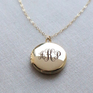 Monogram Locket Necklace - custom engraved, initials, silver, gold, rose gold - 1374